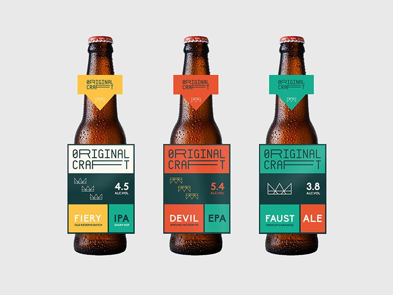 Original Craft beer bottle craft ale label design layout crown lager mockup