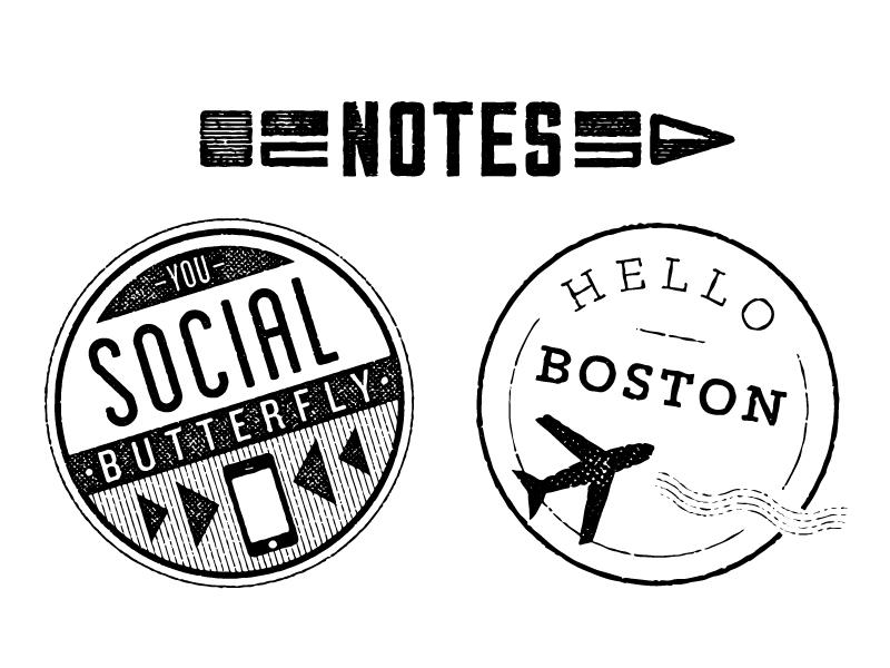 Networking Badges travel stamp retro badge vintage notes communicate network