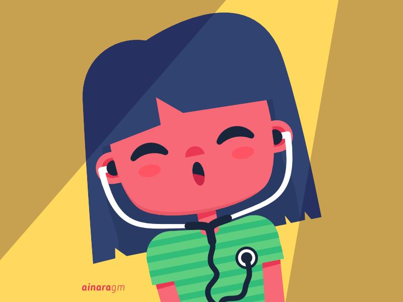 listen to yourself sticker character vector illustration girl listen