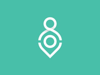 Human map pin selfdefense monogram logotype logo lettering ios identity id branding app android