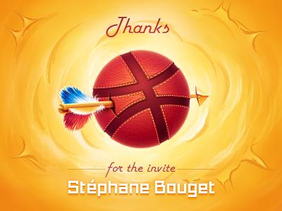 Thank you! arrow dribbble ball boom bang invitation thanks explosion stephane bouget hi basketball stitch texture sun rubber illustration