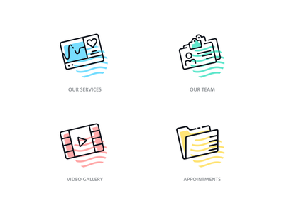 Icon sets for the featured navigation design medical lines flat illustration icon