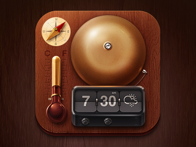 Whether icon icon app ios photoshop sketch bell compass thermometer wood flip clock crisp weather whether alarm bell flip-clock brass steam punk vintage punk wacom