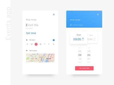 Events App venue ios alarm ux mobile appdesign uidesign app calender time events