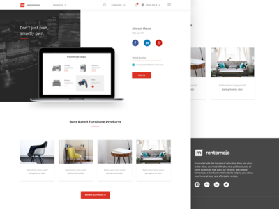 Ad Landing page ux ui page landing signup social marketing furniture renting products