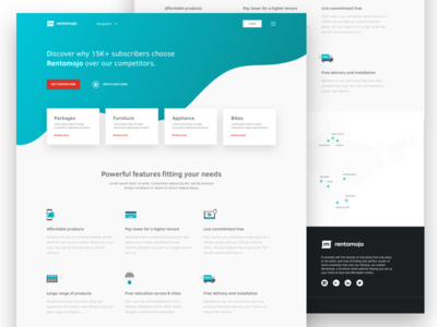 Ads Landing page ux ui page landing cities testimonials marketing furniture renting products