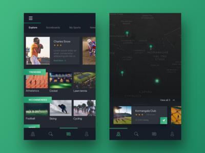 Sports app events game app news minimal ux ui maps dark sports