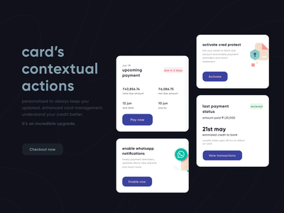 CRED 2.0 | Contextual Card Actions transaction payment pay product clean page ui ux minimal ios illustration fintech dues darkui credit card payment cred cards bill app activate
