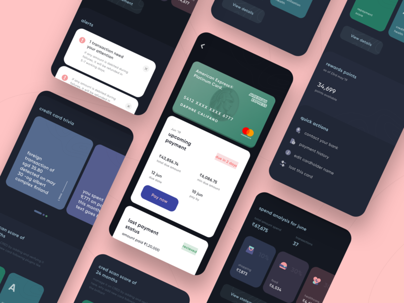 CRED 2.0 | Card Details snippets card details spends android creditcardcheckout alerts payment darkui card design creditcard fintech clean design products mobile page ios app ux minimal ui
