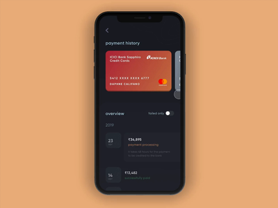 CRED 2.0 | Payment History bills money success pay payment app transactions credit card banks ios android cards design payments cards fintech products mobile app minimal ux ui