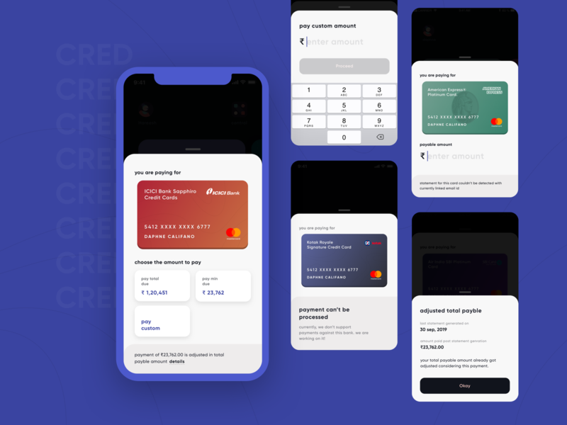 CRED 2.0 | Bill Payment use-cases amount mastercard visa keyboard successful bank bill finance payments money payment creditcard cards android fintech mobile ios clean app