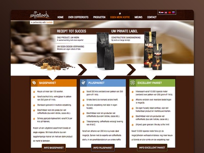 Private label packages CoffeeRoots coffee webdesign responsive visualisation proces call to action easy to use usability interaction contactform overview packages