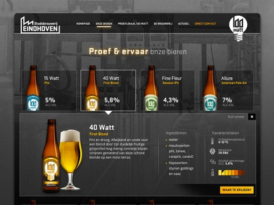 Beer overview Stadsbrouwerij Eindhoven experience story behind the beers modern identity industrial brewery beer ambient character interface overview
