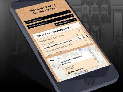 Responsive beerlocator Stadsbrouwerij Eindhoven eindhoven identity user experience filters custom map interactive locator interface brewery beer