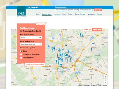 Responsive website Sociale kaart Pro Praktijksteun webdesign responsive identity flatdesign modern easy to use clear usability design user-interface online tool