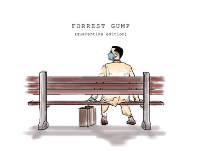 Forrest Gump Quarantine Edition quarantine stay safe stay home painting moviesquarantineedition movies films drawing digital painting digital art covid19 illustration