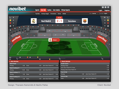Football live game simulator terrain sports simulator game football court betting ui illustration