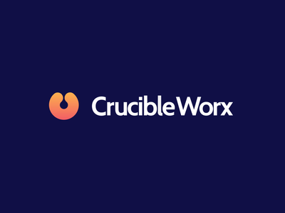 CrucibleWorx animation company firm service c crucible tech business startup orange purple blue violet mark icon emblem mascot logo designer logo design branding brand identity branding graphic