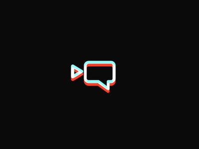 Neonfilms red new york animation logo startup company chat app modern minimal flat shape camera mark icon emblem mascot branding logo designer movie neon analgyph
