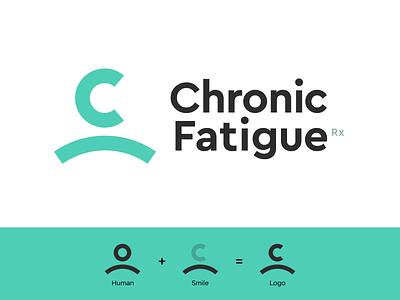 Chronic Fatigue new york logo designer monogram icon emblem shape mascot c human smile chronic fatigue logo green psychology mental health