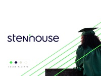 Stenhouse new york logo designer education green modern minimal flat shape brand identity logo house university