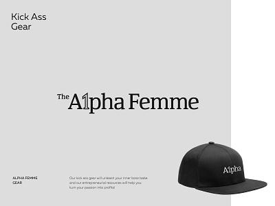 The Alpha Femme female feminine snapback hat clothes brand grey logo designer 1 a lettering typography