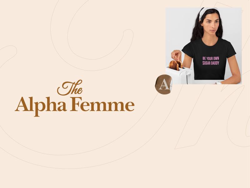 The Alpha Femme branding tshirt logo designer typography lettering feminine female clothes brand
