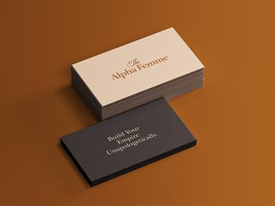 The Alpha Femme logo designer brown clothes female alpha lettering typography business card branding