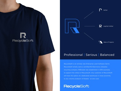 RrecycleSoft soft zero waste recycle software app logo designer new york ukraine symbol icon mark mascot branding brand identity blue r letter