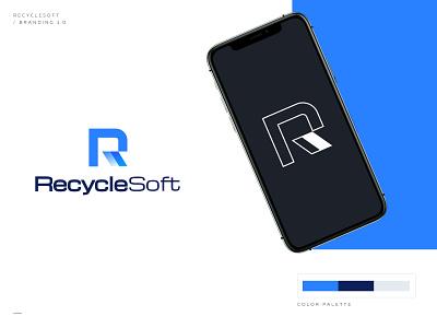RrecycleSoft soft zero waste r letter blue brand identity branding mascot mark icon symbol ukraine new york logo designer app software recycle