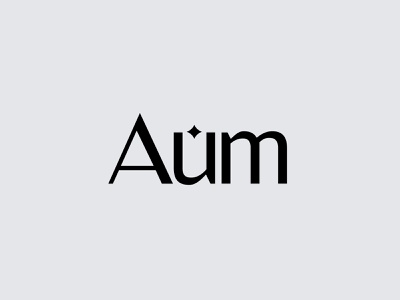 Aum modern minimal flat shape brand identity kharkiv retro marketing logo designer ukraine usa new york japan lettering typography wordmark grey agency star aum