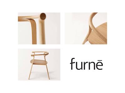 Furne wordmark chair mark icon emblem mark branding modern minimal flat shape brand identity kharkiv japan ukraine usa new york furniture shop company logo designer logo