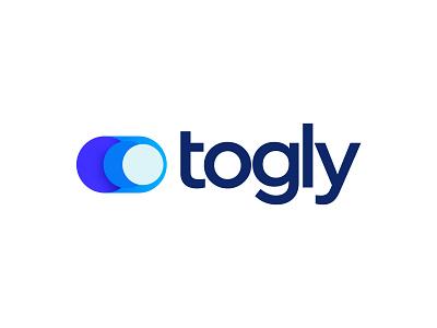 Togly mark icon emblem tech saas startup kharkov modern minimal flat shape brand identity kharkiv branding ukraine new york logo designer blue logo gradient toggle