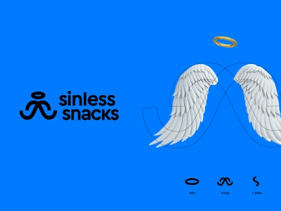 Sinless Snacks mark halo wings angel snack sinless icon symbol modern minimal flat shape logo brand identity kharkiv branding ukraine new york logo designer