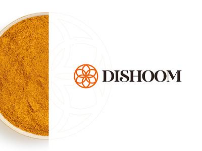 Dishoom kharkiv mascot modern minimal flat shape mark icon emblem brand identity branding ukraine new york logo designer spice mandala delivery food restaraunt indian dish
