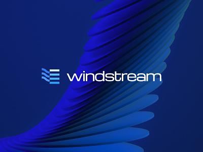 Windstream curved lines mascot shape mark icon logo brand identity kharkiv branding ukraine new york logo designer company saas services investment blue stream wind