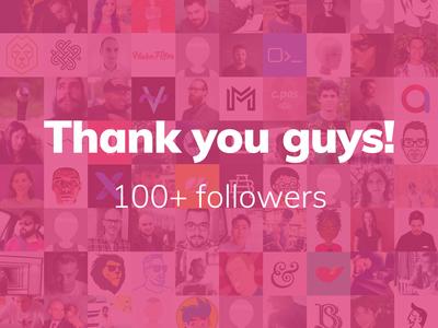 Dribbble 100+ followers community thank you design flat 100 milestone followers dribbble