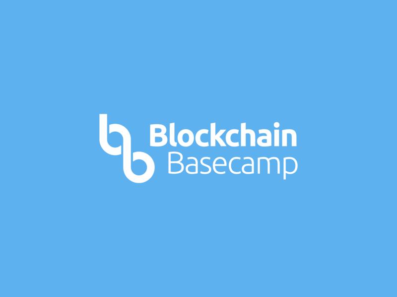 Blockchain Basecamp/ summer basecamp / logo design coin bitcoins bitcoin fintech crypto currency logo designer new york crypto kharkiv kharkov ukraine basecamp logo blockchain logo tech logo mark branding flat blue basecamp blockchain