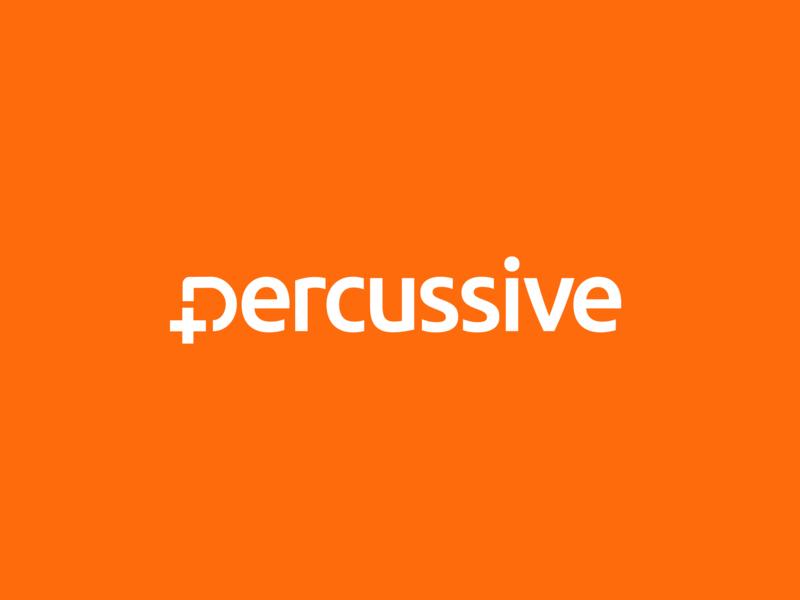 Percussive / software services / logo wordmark crypto blockchain logo designer new york wordmark tech logo software logo software plus logo plus percussive orange logo minimal logo cross logo ukraine kharkiv kharkov bolt on