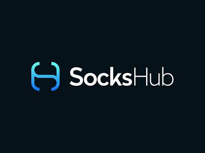 SocksHub / proxy service / logo design s brackets monogram identity design typography blue gradient software symbol logo mark branding sh spot hub proxy logo designer technology startup kharkiv ukraine tech logo