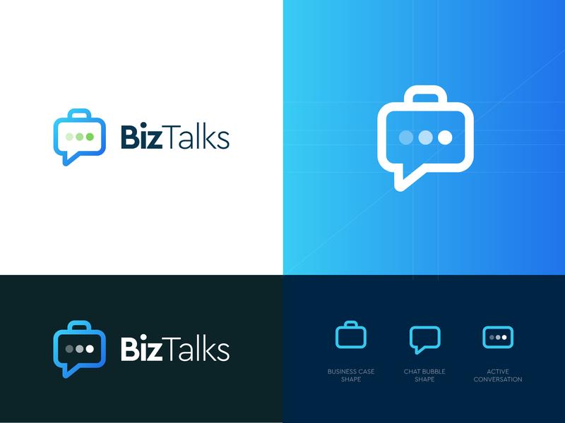 BizTalks marketing enterpreneur emblem gradient blue icon mark logodesign kharkiv ukraine new york biz conversation suitcase case bubble chat talks business