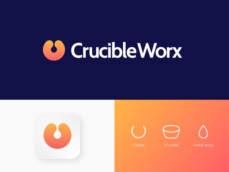 CrucibleWorx logodesigner san francisco los angeles sas digital transformation mix startup tech symbol logo mark business kharkiv ukraine new york melting pot c letter metal drop gradient orange works crucible