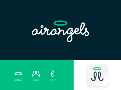 AirAngels type lettering branding air angel angels wings nimbus halo green logo airbnb property real estate agency ukraine kharkiv new york san francisco los angeles tokyo usa startup modern minimal flat shape mark icon emblem tech