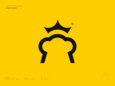 Royal Cook ukraine kharkiv usa san francisco new york modern minimal flat shape mark icon symbol emblem logo designer logo design branding r letter chef hat crown yellow logo course cook