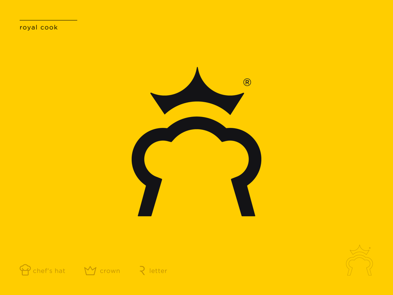 Royal Cook ukraine kharkiv usa san francisco new york modern minimal flat shape mark icon symbol emblem logo designer logo design branding r letter chef hat crown yellow logo course cook