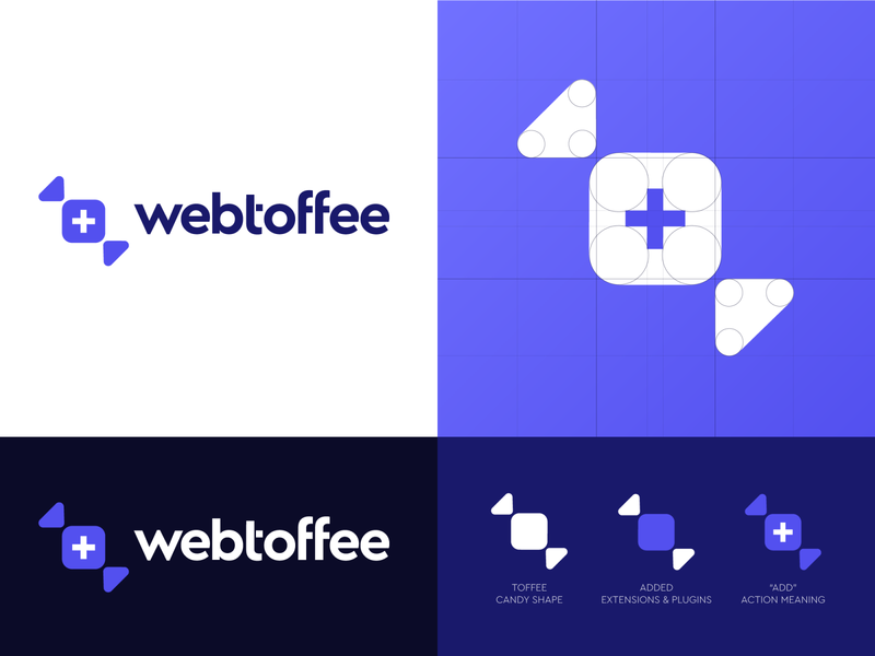Webtoffee web candy extension plus add company firm tech digital startup wordpress modern minimal flat shape purple lilac violet mark icon emblem logo design branding los angeles boston san francisco logo designer new york ukraine kharkiv saas service plugin web toffee