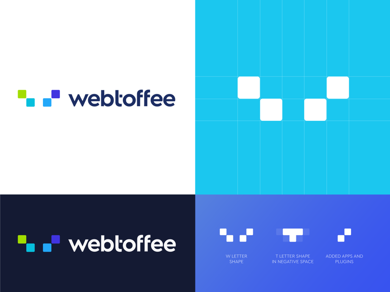 Webtoffee new york boston san francisco web toffee plugin service saas ukraine kharkiv logo designer logo design branding mark icon emblem purple lilac violet blue modern minimal flat shape startup wordpress tech digital company firm extension plugin web candy