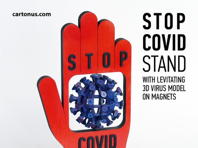 STOP COVID stand - kinetic installation wind turbine covid stop-covid stand vector covid woodwork covid 3d puzzle covid 3d covid spinner kinetic sculpture kinetic installation woodworking lasercut diy laser cutting laser cut
