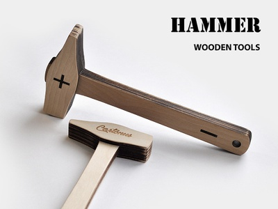 Wooden Hammer laser engraved laser cutting laser cut vector hammer