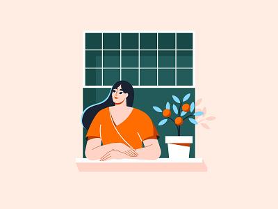 Orange tree vector art summer woman portrait character design character adobe illustrator illustration vector